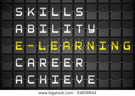 Elearning buzzwords on digitally generated black mechanical board