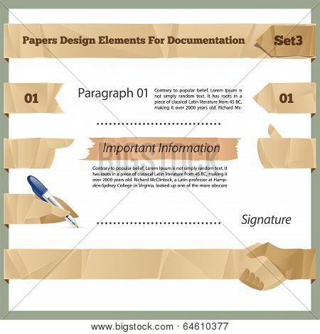 Crumpled Paper Design Elements For Documentation Set3