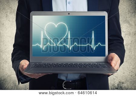 Laptop With Ekg On The Screen