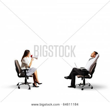 smiley man listening angry woman. isolated on white background