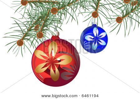 Background A Sphere On A Fur-tree Blue Red