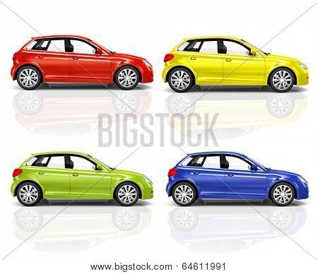 Set of 3D Hatchback Car.