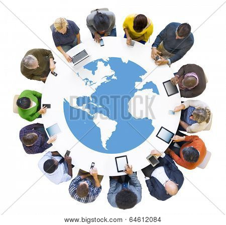 Group of Business People Meeting with Digital Device