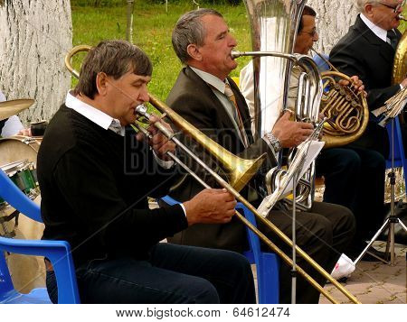 BUDYONNOVSK, STAVROPOL REGION, RUSSIA - MAY 1, 2014: municipal brass band on the Labor Day celebration, on 1st of May 2014, in Budyonnovsk, Russia.