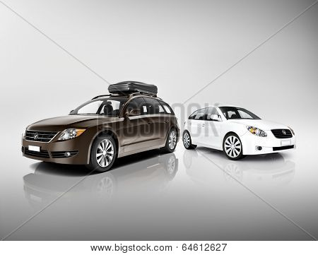 Three Dimensional Image of Black and White Cars