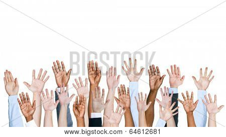 Group of multi-ethnic people's arms outstretched in a white background.