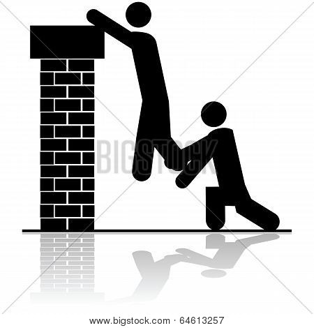 Helping To Lift Someone Over A Wall