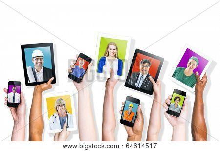 Social Media Themed Multi-Ethnic People