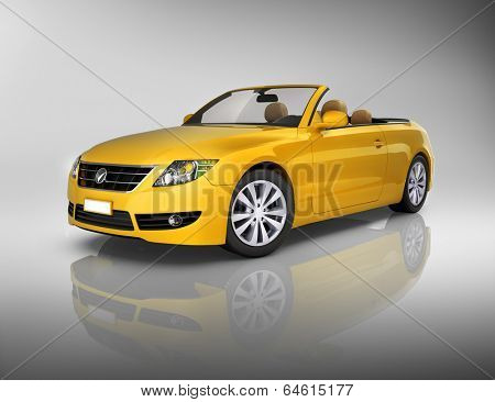 Studio shot of three-dimensional yellow convertible.