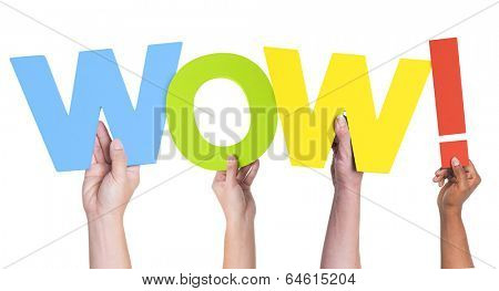 Multiethnic Hands Holding Text Wow with Exclamation Point