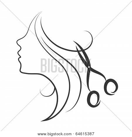 Silhouette of a girl with hair