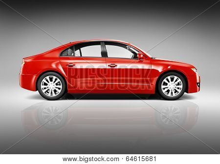 Studio Shot of Side View of Red 3D Sedan