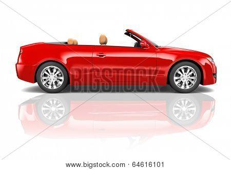 Red Sedan 3D Convertible