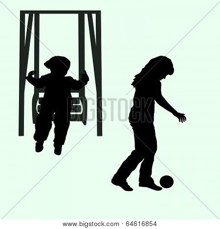 Child And The Child On A Swing With The Ball Silhouette