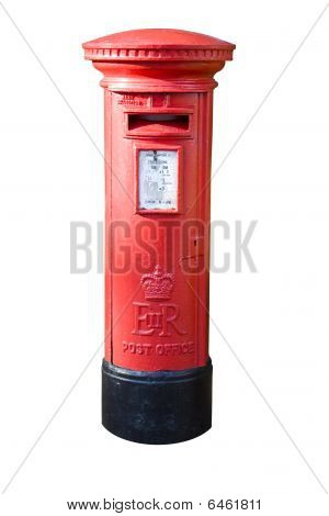 Classic British Pillar Box Isolated On White