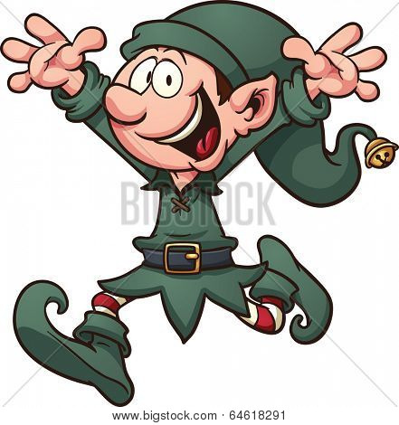 Cartoon Christmas elf. Vector clip art illustration with simple gradients. All in a single layer.