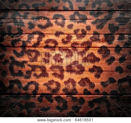 wood background overlays leopard print