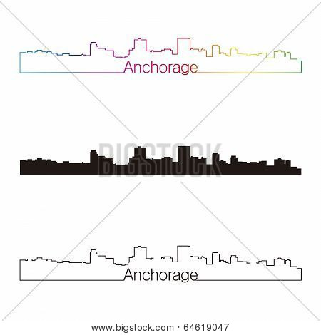 Anchorage Skyline Linear Style With Rainbow