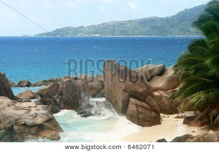 Beach Seychelles. Island La Digue.