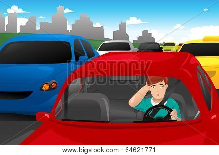 Man Stuck In Traffic