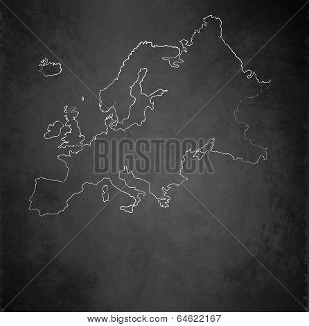 Europe map blackboard chalkboard raster