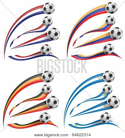 Flag Set Whit Soccer Ball