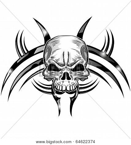 Skull Tattoo Design Isolate On White