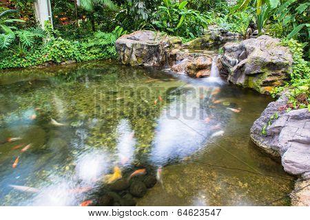 Water fountain in garden or park