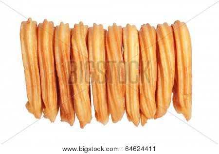 a pile of churros typical of Spain on a white background