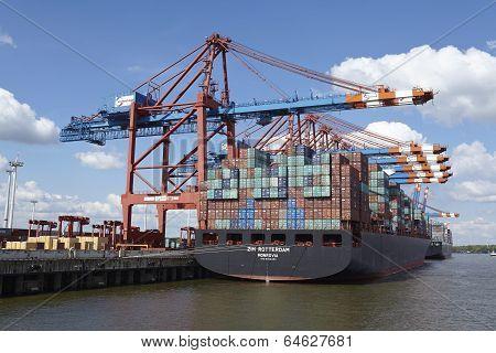 Hamburg - Container Vessel At Eurokai