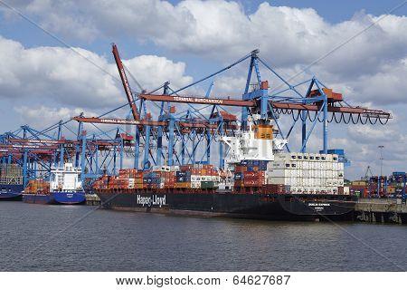 Hamburg - Container Vessel At Burchardkai