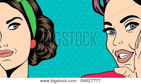 Two Pop Art Girlfriends Talking, Comic Art Illustration