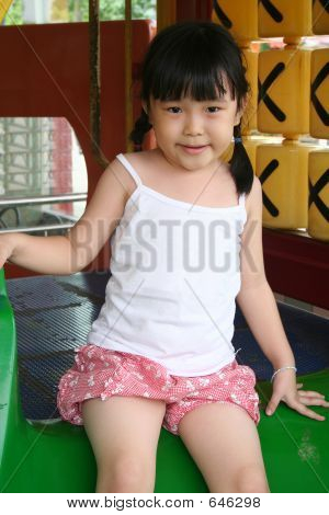 Happy Girl On Slide