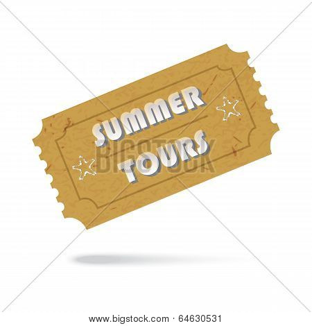 Ticket Summer Tours Icon Isolated