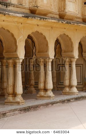 Empty Corridor In An Abandoned Amber Fort. India