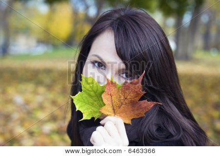 Girl With Colorful Leaves