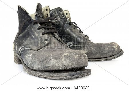 Old Boots, isolated on white background.