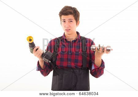 Man with drill and door knob on a white background