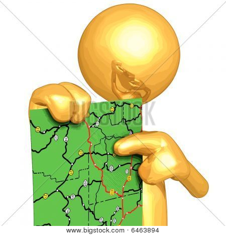 Gold Guy With Road Map