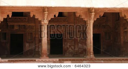 Empty Corridor With Handcarved Pillars In Fatehpur Sikri Complex, Rajasthan, India