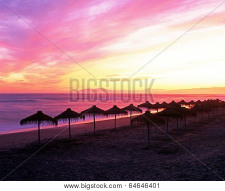 Beach at sunset, Torrox Costa, Spain.