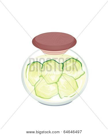 A Jar Of Pickled Fresh Savoy Cabbage