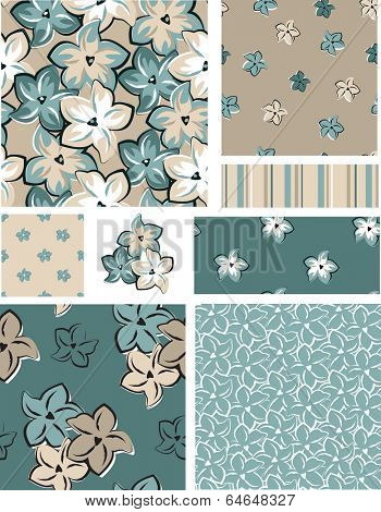 Vector Seamless Floral Patterns and Icons. Use as fills, or print off onto fabric to create unique items.