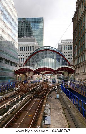 LONDON, UK - APRIL 24, 2014: Canary Wharf DLR docklands station in London