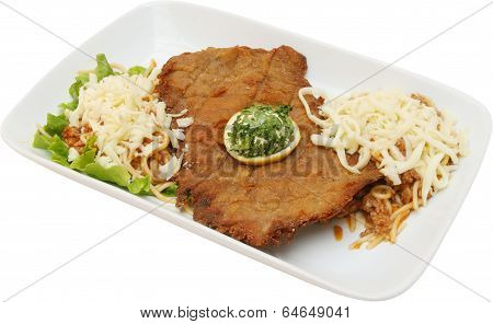 Meat pork cutlet with yellow cheese and vegetables