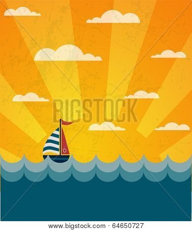 Say Hello to Summer, retro illustration of a boat and wavy sea