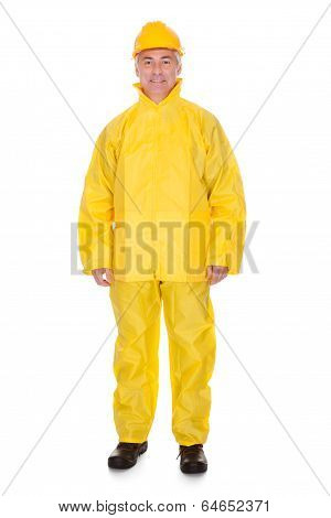 Mature Man Wearing Raincoat