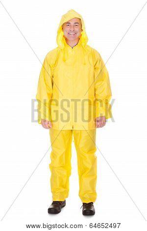 Mature Man Wearing Raincoat