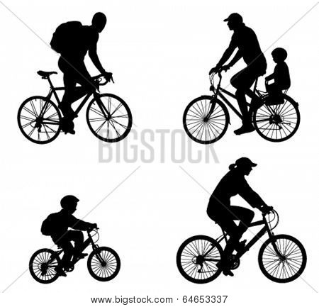 recreational bicyclists silhouettes
