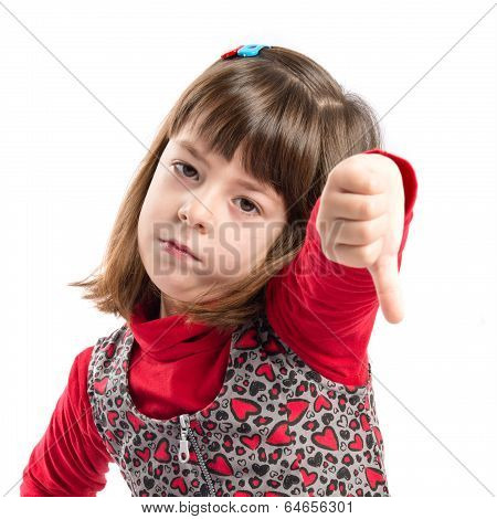 Child Doing A Bad Signal Over White Background